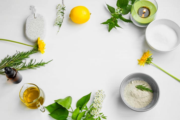 Organic spa.Skincare natural ingredients with clay, olive oil,pumice stone, herbal extracts, home-spa concept